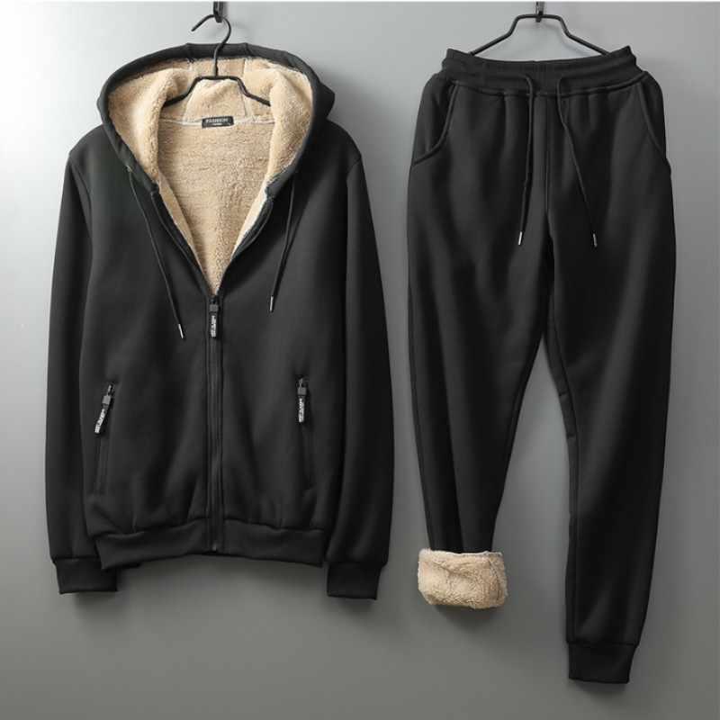 Sudadera con capucha de invierno para hombre conjuntos de dos piezas de lana forro chándal cintura elástica exterior Jogging conjuntos gruesos calientes