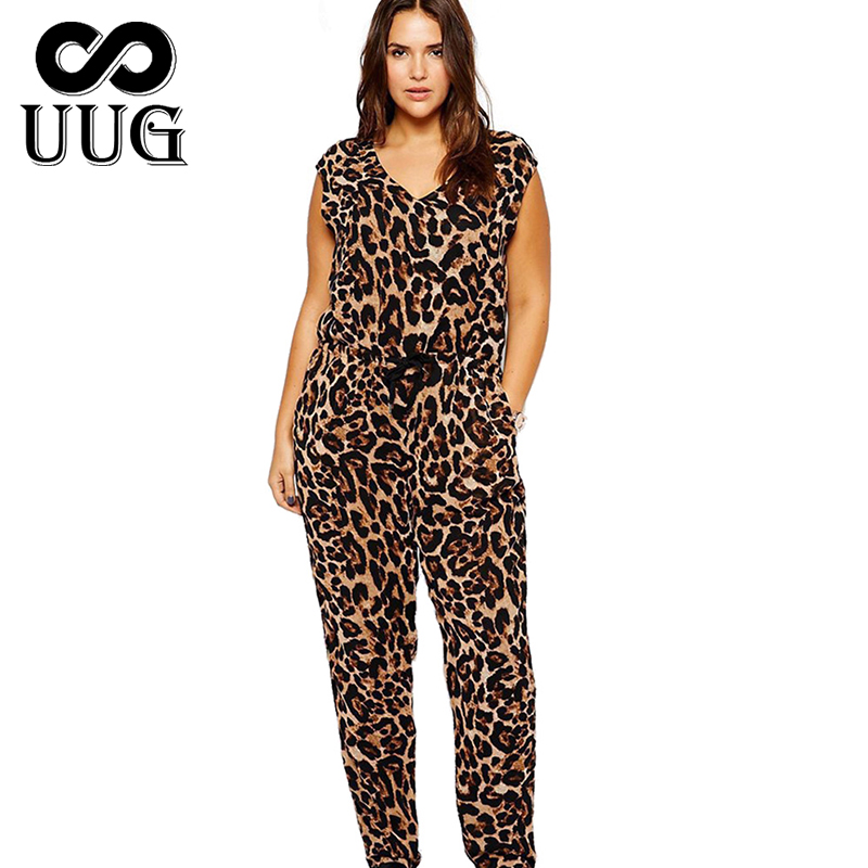 UUG Leopard Jumpsuit Plus Size Women 6XL Big Large Summer Rompers Jumpsuits Long 5XL Lady Casual Overalls V Neck Sleeveless 4XL