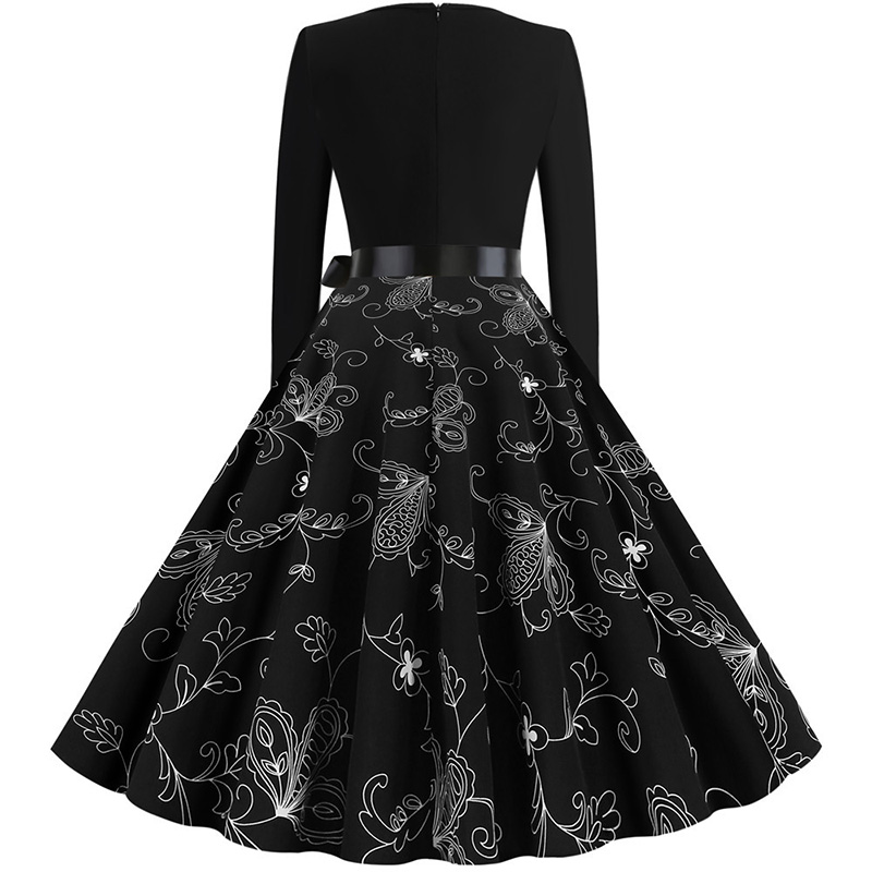 Women Long Sleeve Winter Vintage Dresses Sexy Black Music Note Print V-neck Rockabilly Pin up Party Dress Vestidos Plus size 657