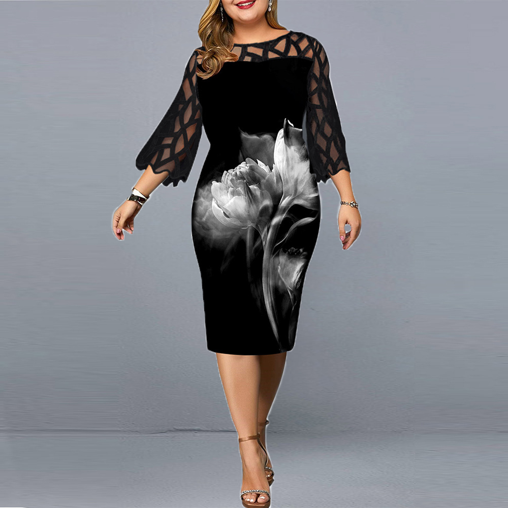 Women's Dress 4xl 5xl 6xl Plus Size Dress for Ladies Birthday Mesh...