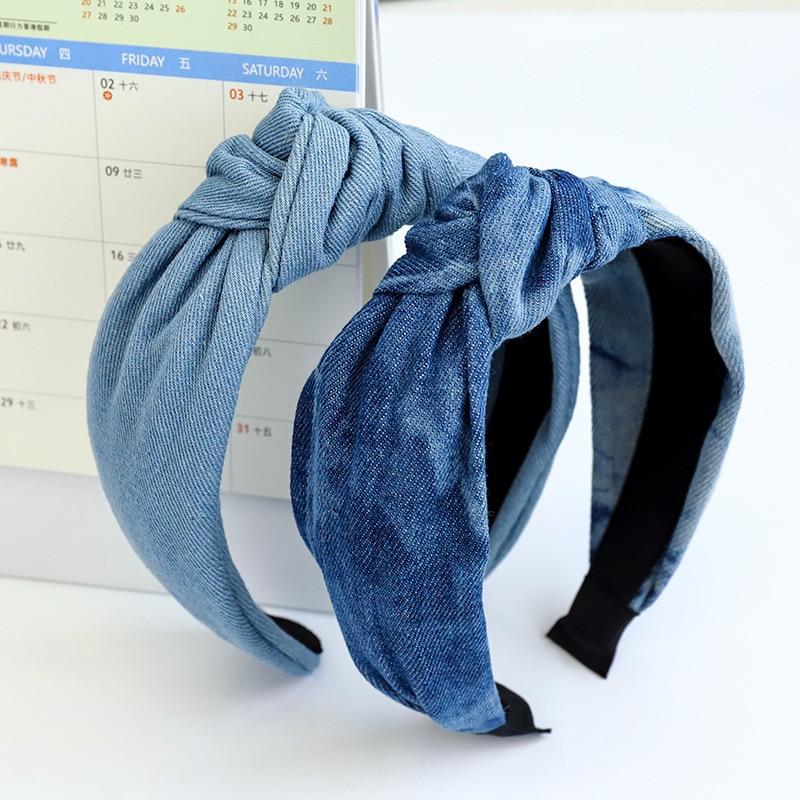 Галстук из денима повязка для волос с перекрестными узелками для женщин и девушек аксессуары для волос