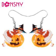 Bonsny akrylowe Halloween Demon dynia Witch dziewczyna kolczyki spadek dynda festiwal dekoracji dziewczyny nastolatek urok prezent Party akcesoria