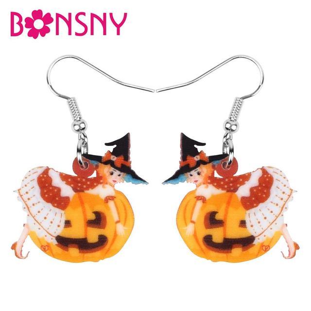 Bonsny Acrylic Halloween Demon Pumpkin Witch Girl Earrings Drop Dangle Festival Decoration Girls Teen Charm Gift Party Accessory