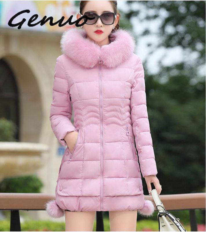 2019 Faux Fur   Parkas   Women Down Jacket Plus Size Womens   Parkas   Thicken Outerwear Hooded Winter Coat Female Jacket Cotton Padded