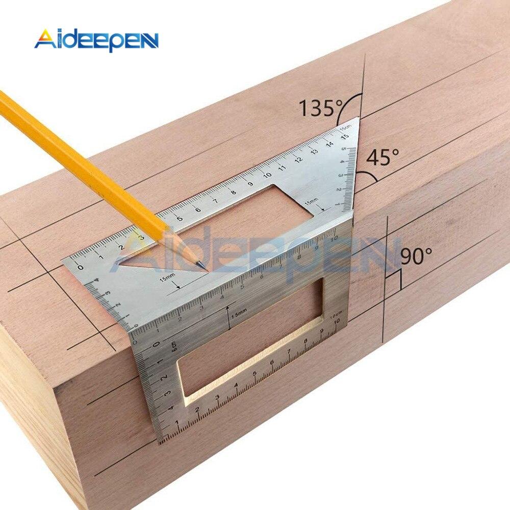 Regla de ángulo de calibre de 45/90 grados cuadrada multifuncional, herramienta de carpintero para carpintería