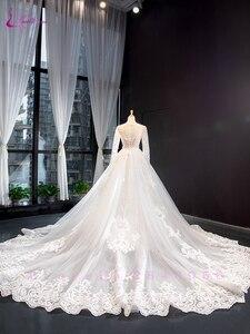 Image 3 - Waulizane 2020 كم طويل من 2 في 1 فستان الزفاف مشد الظهر رائع فستان عروس