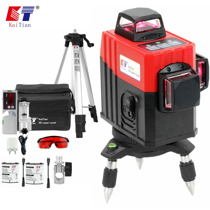 Kaitian 3D Laser Level Tripod&Receiver Self-Leveling Profissional 360 Vertical Horizontal Powerful Red Line Level Lasers Bracket