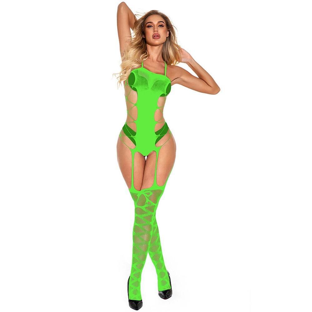 New Fashion Design Women's Transparent Fishnet Lingerie Solid Color Jumpsuit Hollow Slips Intimates Dress Bodysock BabyDoll 2020