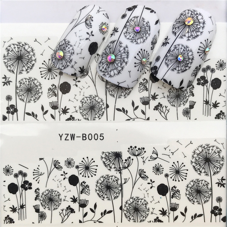 2018 New Style YZW-B Series Manicure Watermarking Adhesive Paper Hipster Dandelion Nail Sticker Flower Jewelry Wholesale