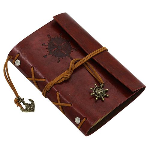 1pc Retro Anchors Faux Leather Cover Notebook Journal Traveler Rudder Anchor Book Diary Blank Loose-leaf Ring Binder 5 Colors