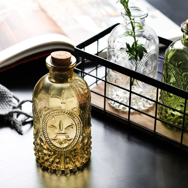 Retro Vase Carved Cork Bottle Glass Bottle Tabletop Vase Aromatherapy Bottle Home Decoration 4