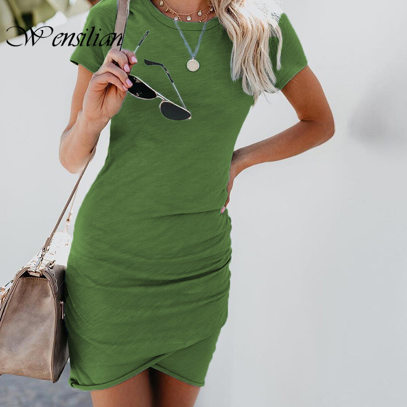 Mini Dress Women Summer Dresses Short Sleeve Solid Sexy Dress Casual Bodycon Beach Dresses Sexy Party Vestidos De Verano