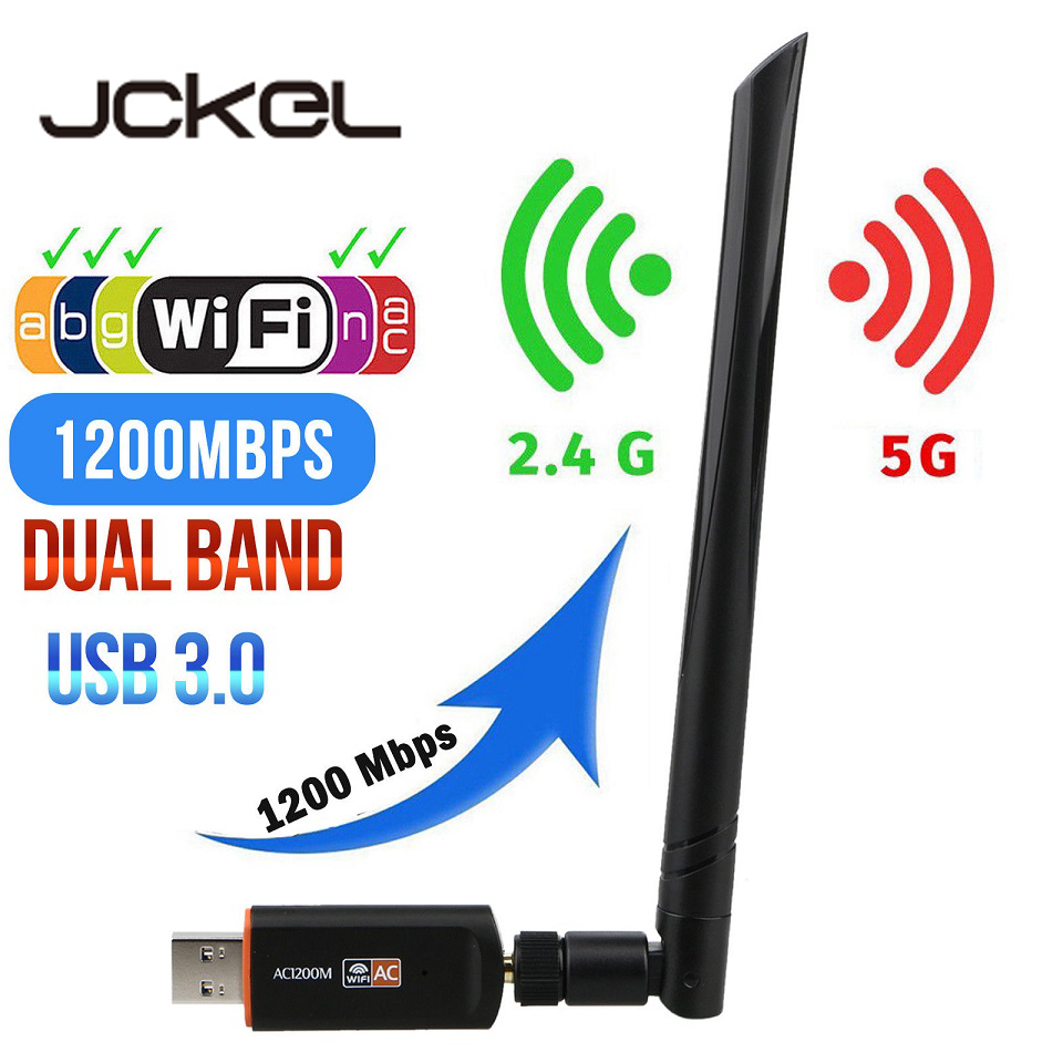 USB 3.0 Wifi Adapter 2.4G 5G Free Driver Antenna 1200MbpsWifi USB Ethernet Network Card Dual Band wireless Wifi Dongle Receiver(China)
