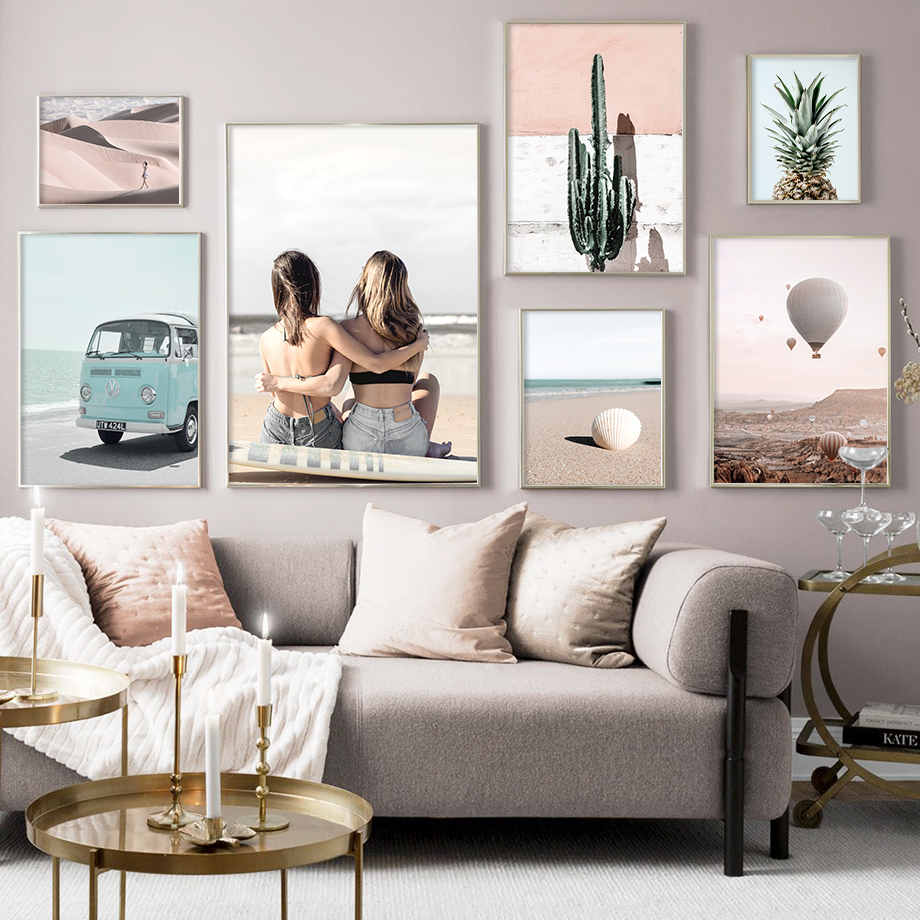 Beach Desert Car Pineapple Balloon Cactus Wall Art Canvas Painting Nordic Posters And Prints Wall Pictures For Living Room Decor