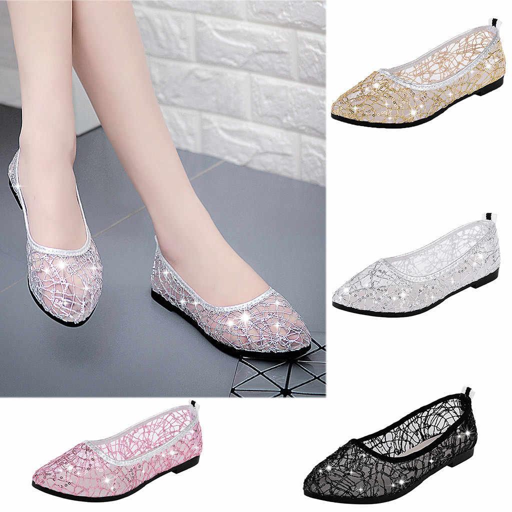 Kadın Ayakkabı Moda Rahat Yuvarlak Ayak Kristal Sığ Iş Bayanlar Düz sandalet femmes chaussures femmes t nouveau 2019