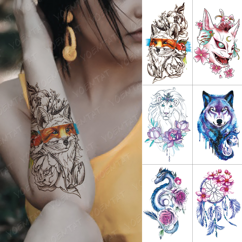 Waterproof Temporary Tattoo Sticker Fox Lion Cat Wolf Dragon Flash Tattoos Dream Catcher Rose Body Art Arm Fake Tatoo Women Men