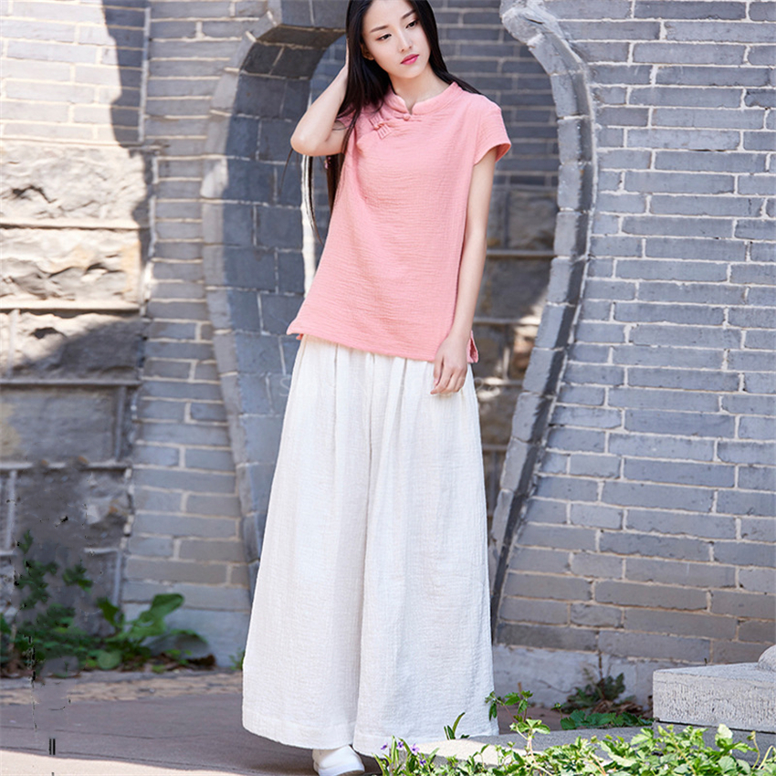 Sexy Loose Wide Leg Yoga Linen Pants Women Chinese Traditional Cotton Breathe Tai Chi Pants Lace Casual Trousers Girl Soft Wear