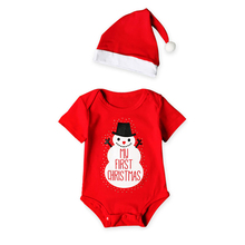2 Pcs/Set Soft Cotton Baby Bodysuits Long Sleeve Newborn Clothing Set Christmas Girls Boys Clothes Infant Jumpsuit+hat