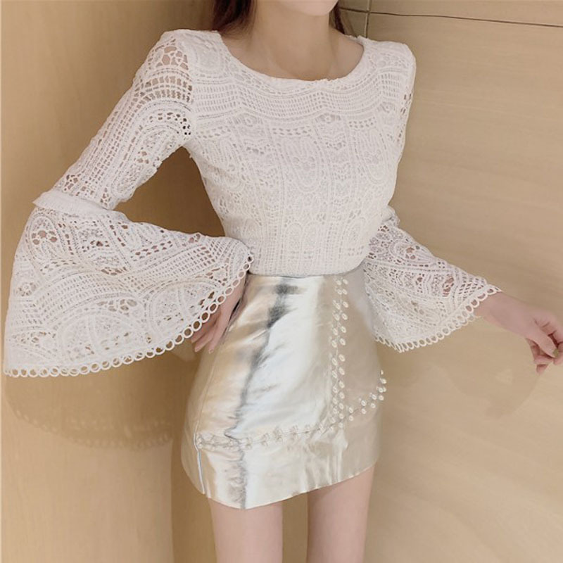 2020 Spring New Products Korean-style Elegant Bell Sleeve Lace Shirt High-waisted Slimming Beads PU Leather Skirt Two-Piece Set