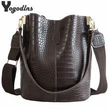 Винтажная повседневная сумка-мешок для женщин, сумка через плечо с рисунком аллигатора, качественная сумка из искусственной кожи, большая сумка-тоут, популярный стиль