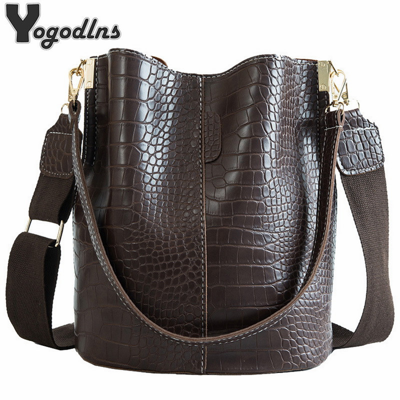 Vintage Casual Bucket Bags For Women Shoulder Bag Alligator Pattern Quality Pu Leather Messenger Bag Big Tote Popular Style 2019