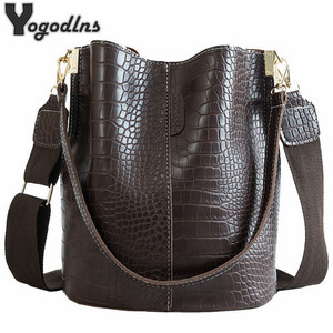 Vintage Casual Bucket Bags for Women Shoulder Bag Alligator pattern Quality Pu Leather Messenger Bag Big Tote Popular Style 2020(China)