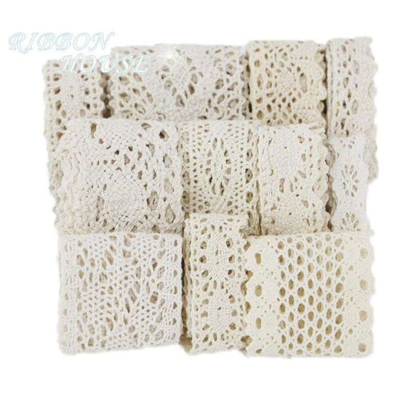 (5 Meter/roll) Weiß Beige Baumwolle Bestickt Spitze Net Bänder Stoff Trim DIY Nähen Handgemachte Handwerk Materialien