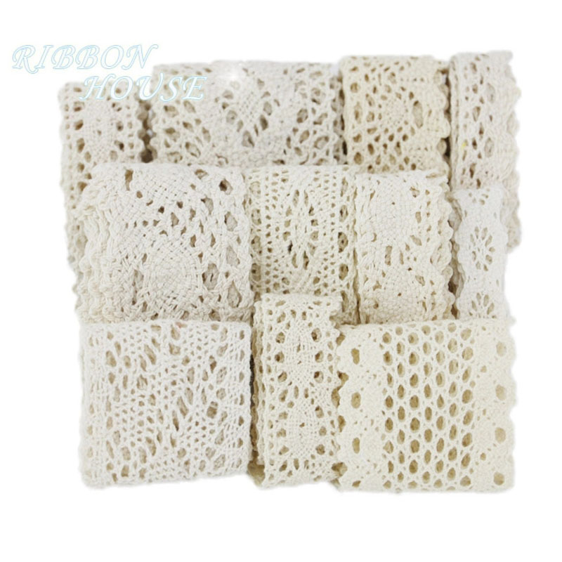 (5Meter/roll) White Beige Cotton Embroidered Lace Net Ribbons Fabric Trim DIY Sewing Handmade Craft Materials(China)