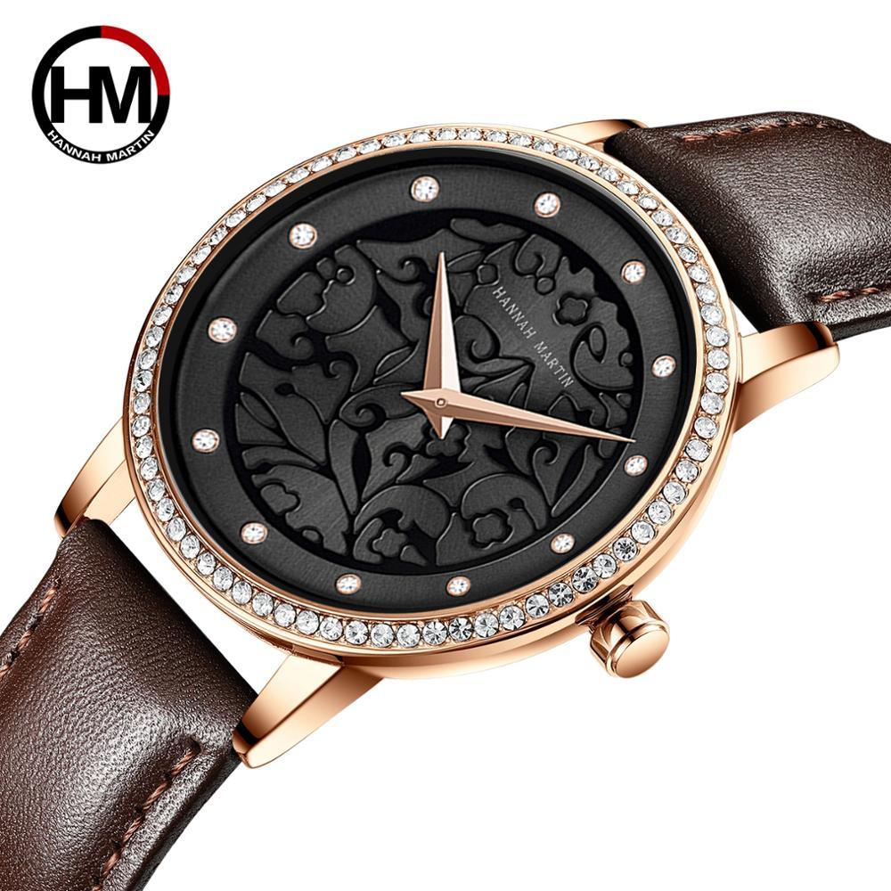 Women Watches Leather Wristwatch Fashion 3D Engraving Japanese Quartz Waterproof Ins Top Luxury Brand Waterproof Relogio Feminio