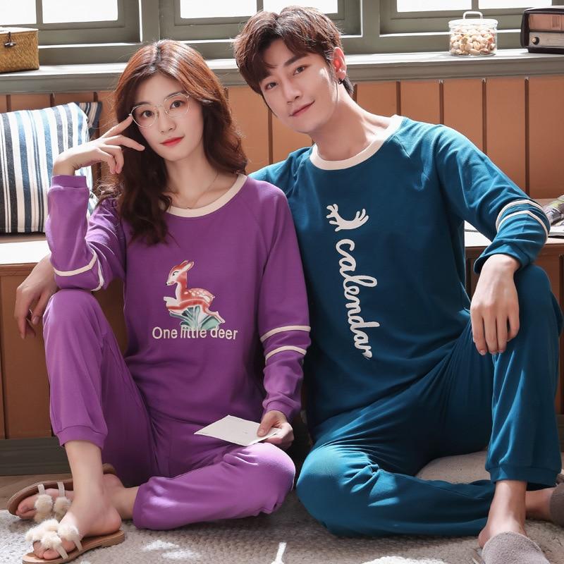 New 2019 Spring Couple Pajamas Men Pajamas Set Long Sleeve Pijama Set For Male Plus Size Crew Neck Sleep Clothing Casual Nightie