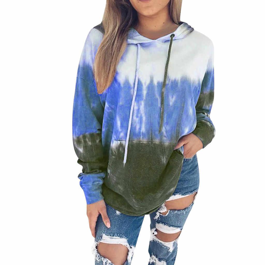 Sudadera con capucha harajuku para mujer 2019 moda impresión gradiente Otoño Invierno manga larga con tapa chaqueta blusa camisetas para mujer