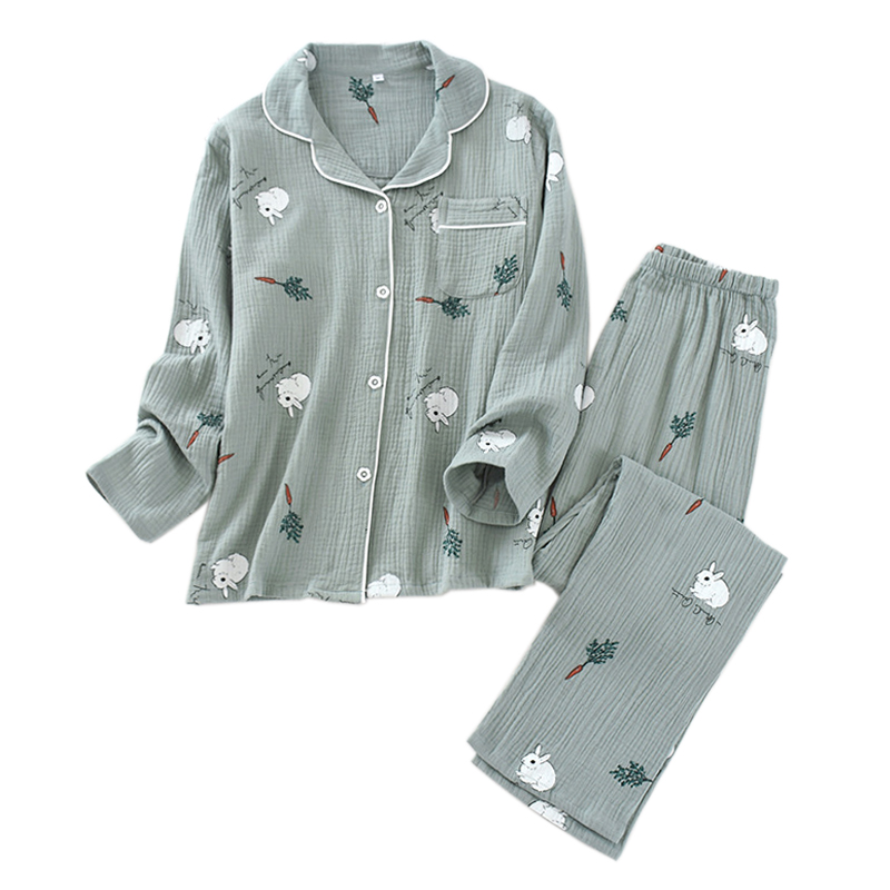 2020 Spring New Sweet Rabbit Sleepwear Women Pajamas Sets Japanese Sweet 100% Crepe Cotton Long-sleeved Women Pyjamas Homewear
