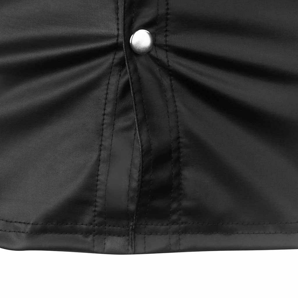 ワンピースファッション男性スリムフィットシャツ夏カジュアルラペルパテントレザー Tシャツ無地ボタン Camisetas やつ漫画コルタ