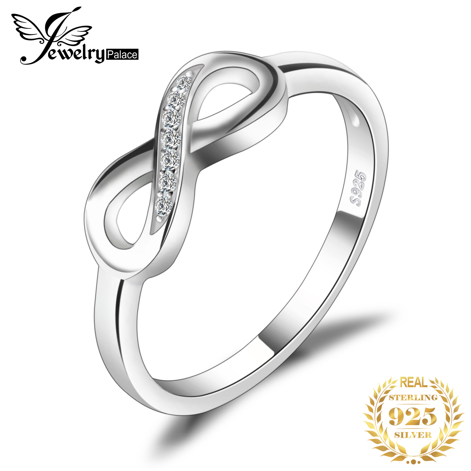 JewelryPalace Infinity Anniversary Cubic Zirconia Rings 925 Sterling Silver Rings For Women Silver 925 Jewelry Fine Jewelry