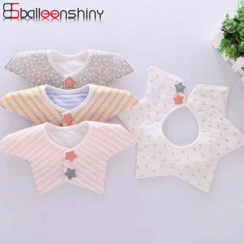 Balleenshiny Baby Bibs for Girls Boys Cotton Baby Stuff Waterproof Baby Scarf Double Snap Meal Collar Burp Baby Accessories Bibs