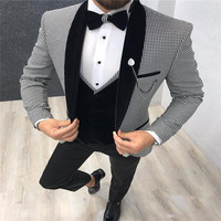 Italian Design 3 Piece Formal Men Suit 2019 Slim Fit Party Prom Suit Houndstooth Men Groom Wedding Suit Best Man Blazer Tuxedo