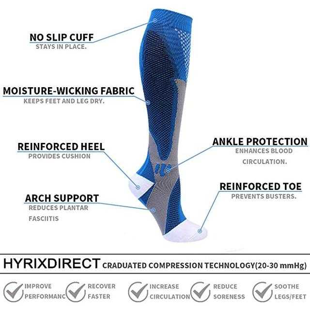 44 Styles Men / Women Compression Socks For Sports, Pain Relief, Knee High