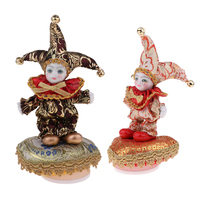2Pcs 6inch Lovely Porcelain Triangel Doll Clown Model Music Box Home/office Ornaments