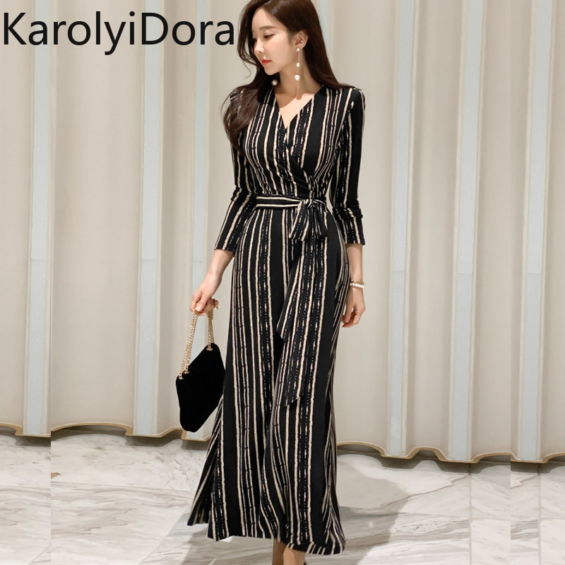 2020 Spring New Korean Version Of The OL Temperament V-neck Slim Bottoming Dress Fashion Lace Waist Stripe Dress Women
