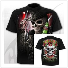 Camiseta 3D para hombre y mujer, camisa con Calavera, Tops de esqueleto impreso, camisetas informales de manga corta, ropa de calle gótica para Halloween