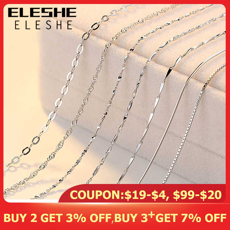 ELESHE Real Pure 925 Sterling Silver Chain Necklace Women Girls Ladies Box Snake Rope Cross Chain Necklace Jewelry Wholesale