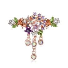 New Vintage Women Elegant Gem Rhinestone Flower Hairpins Hair Barrette Clip Crystal Butterfly Bow Hair Clips for Girls pair of elegant faux gem clip earrings for women