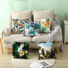 Tropical Plants Pillow Case Polyester Decorative Pillowcases Green Leaves Throw Pillow Case kussensloop almohada poszewka chic quality green plants pattern flax pillow case(without pillow inner)