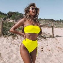 Microbikini de neón para mujer, traje de baño Sexy de color amarillo liso con hombros descubiertos y realce de leopardo de cintura alta