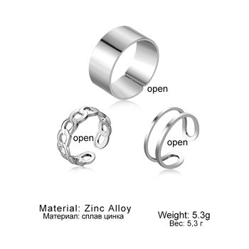 Punk Metal Geometric Round Ring Set Silver Color Open Rings for Women Fashion Finger Accessories Buckle Joint Tail Ring Jewelry 6
