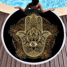 Mandala Summer Round Beach Towels Geometric Bath Shower Towel Circle with Drawstring Storage Bag Yoga Mat Carpet Toalla Playa 2019 geometric patterns summer round beach towel with tassels beach covers bath towel picnic yoga mat for adult toalla de playa
