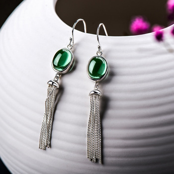 green crystal earrings for women's versatile temperament national style long earrings S925 silver inlaid crystal tassel