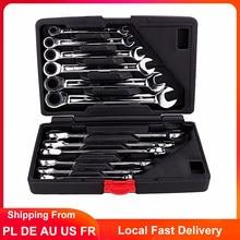 12Pcs Schlüssel Set Ratsche Feste/Flexible Kopf Kombination Drehmoment Schraubenschlüssel Steckschlüssel Auto Auto Reparatur Werkzeuge 8-19mm