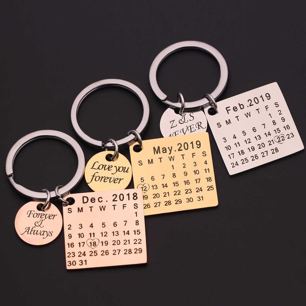 Llavero personalizado de calendario personalizado de acero inoxidable resaltado con fecha de corazón grabar fecha aniversario de bodas cumpleaños regalo