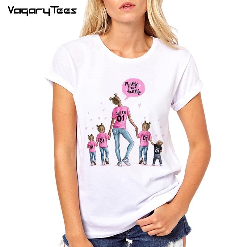 Mom T Shirt Women Mother's Love Print White T-shirt Harajuku Mama TShirt 3 Girls And A Little Boy Tee Shirt Femme Vogue Summer